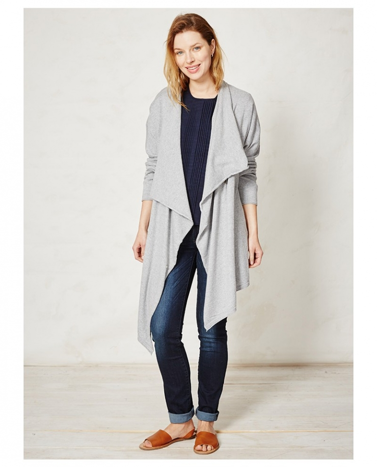Hip Zip Throw cardigan WST2554-grey marle